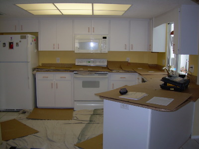 Before Cabinet RefaceWhite laminate kitchen